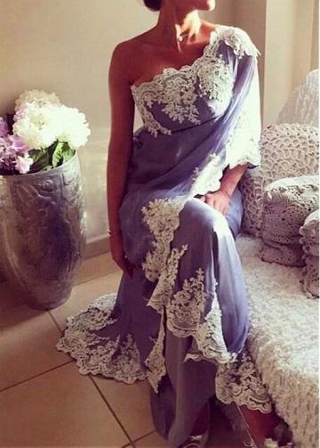 Fabulous Chiffon One Shoulder Neckline Sheath Evening Dresses With Lace Appliques