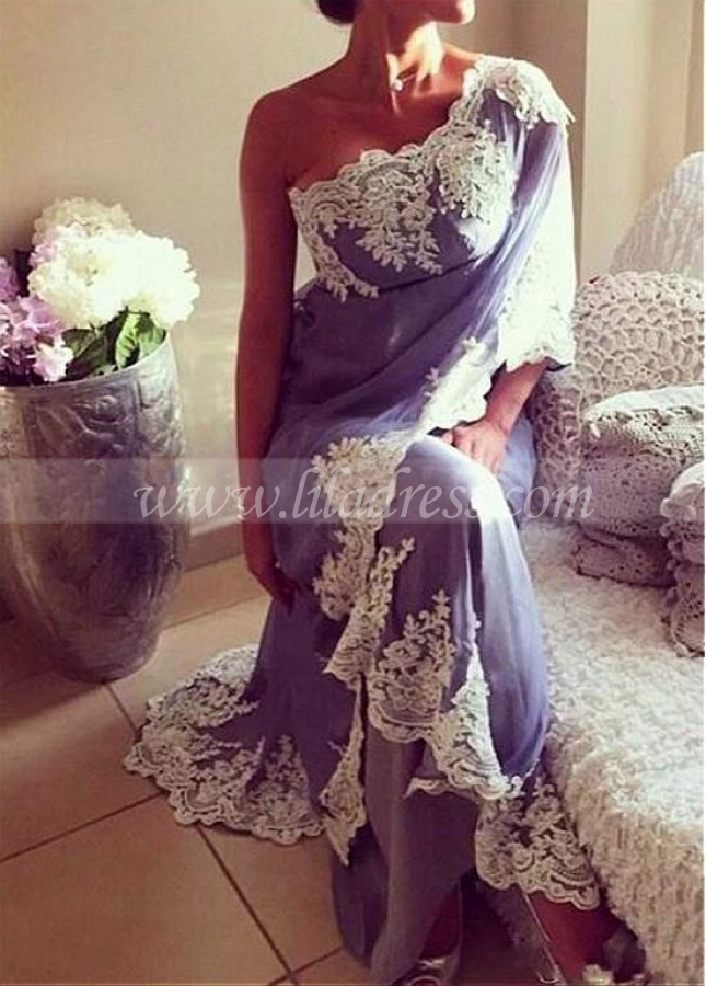 Fabulous Chiffon One Shoulder Neckline Sheath Evening Dresses With Lace Appliques