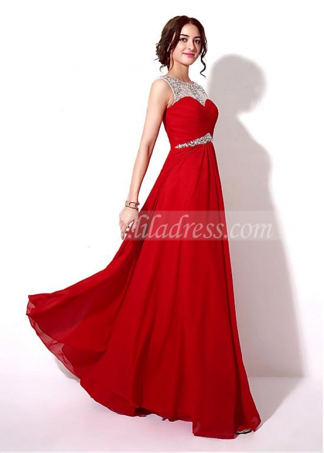 Delicate Chiffon Bateau Neckline A-line Prom Dresses With Beadings