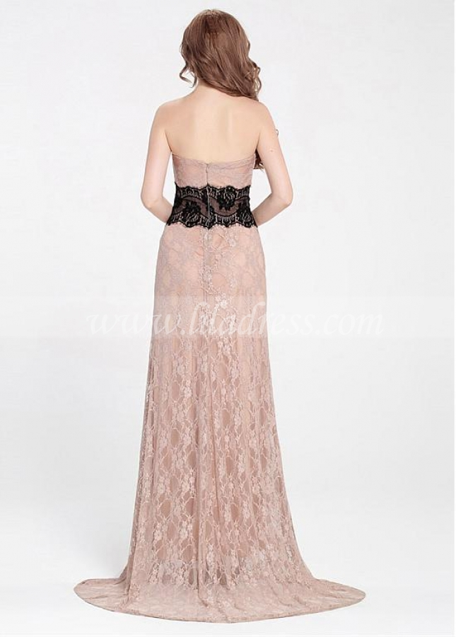 Sexy Lace Strapless Sheath Evening / Bridesmaid Dress