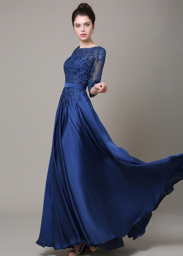 Chic Chiffon Bateau Neckline Floor-length A-line Formal / Bridesmaid Dress