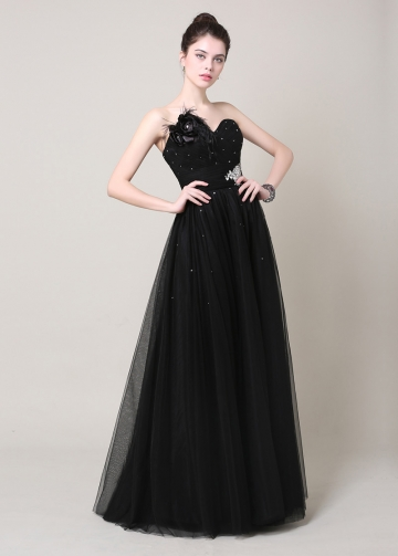 Elegant Tulle & Satin Sweetheart Neckline A-Line Formal Dresses