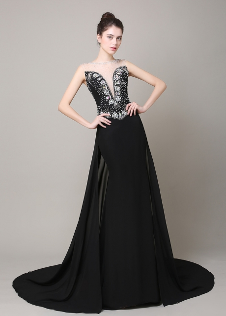 Junoesque Chiffon Bateau Neckline Mermaid Formal Dresses