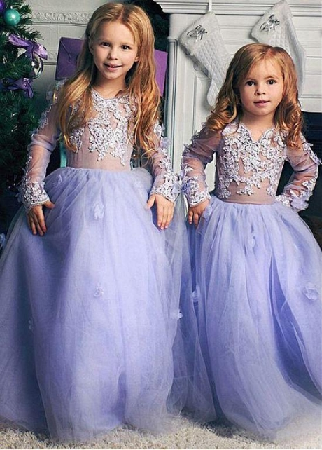 Chic Tulle & Satin Jewel Neckline Illusion Sleeves Ball Gown Flower Girl Dresses With Lace Appliques & Handmade Flowers