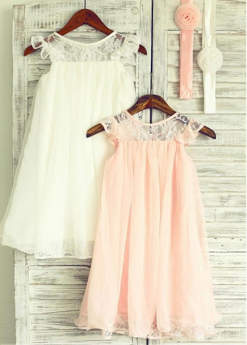 Cute Lace & Chiffon Jewel Neckline Knee-length A-line Flower Girl Dresses