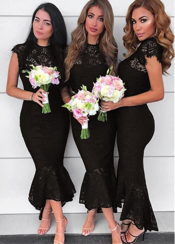 Sweet Lace Jewel Neckline Hi-lo Black Mermaid Bridesmaid Dresses