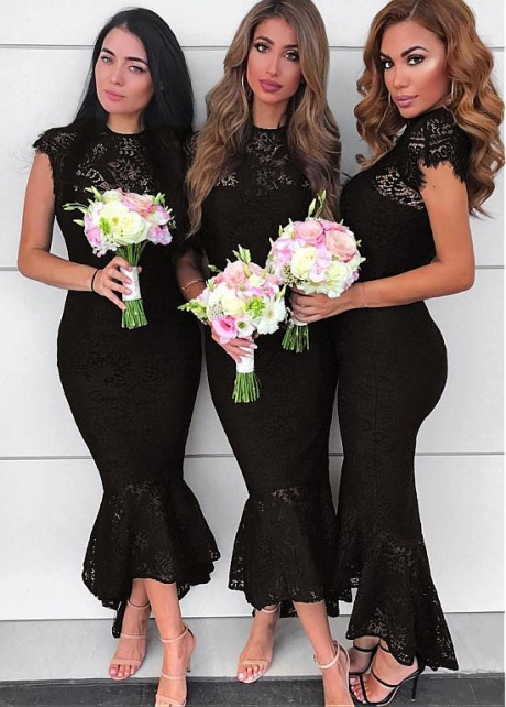 Sweet Lace Jewel Neckline Hi-lo Black Mermaid Bridesmaid Dresses