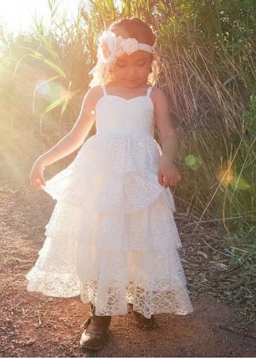 Pretty Lace Sweetheart Neckline A-line Flower Girl Dresses