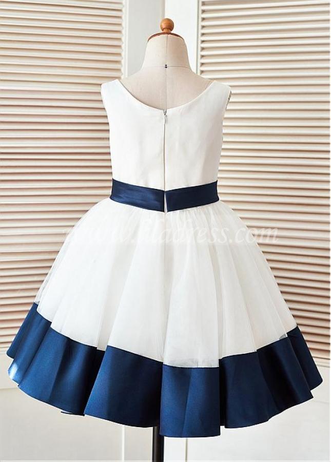Marvelous Tulle & Satin Jewel Neckline Ball Gown Flower Girl Dresses