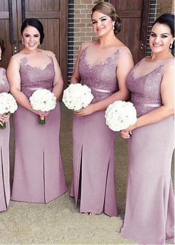 Wonderful Tulle & Lace & Satin Jewel Neckline Sheath/Column Bridesmaid Dresses With Lace Appliques & Belt