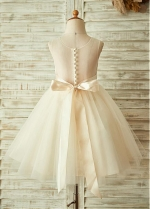 Marvelous Lace & Tulle & Satin Jewel Neckline A-line Flower Girl Dresses With Beadings