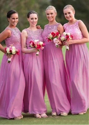 Modest Lace & Chiffon Jewel Neckline A-line Bridesmaid Dresses