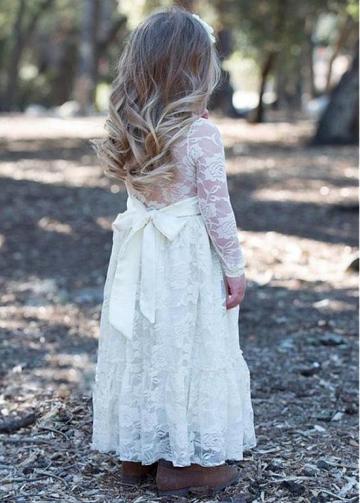 Fashionable Lace Jewel Neckline A-line Flower Girl Dresses With Belt
