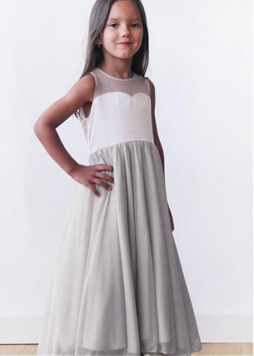 Pretty Chiffon Jewel Neckline A-line Flower Girl Dresses