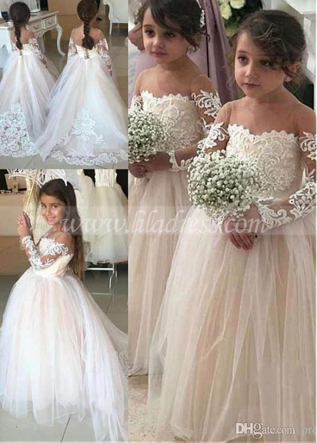 Delicate Tulle Jewel Neckline Floor-length Ball Gown Flower Girl Dresses With Lace Appliques