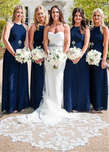 Wonderful Chiffon jewel Neckline A-line Pleated Bridesmaid Dresses