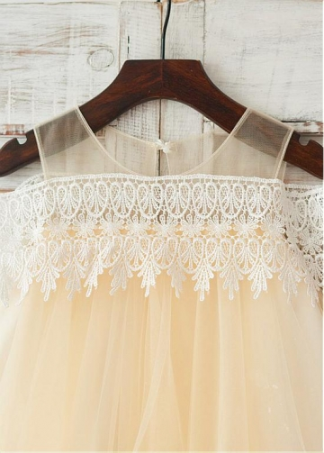 Unique Lace & Tulle Scoop Neckline Knee-length A-line Flower Girl Dresses