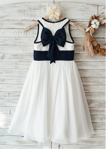 Attractive Chiffon Scoop Neckline Knee-length A-line Flower Girl Dresses With Bowknot