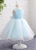 Elegant Satin & Organza Jewel Neckline Ball Gown Flower Girl Dresses With Handmade Flower & Pearls