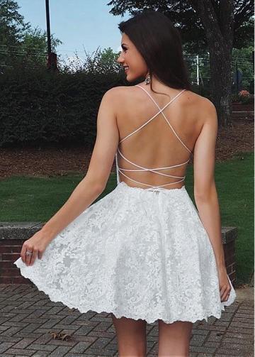 Alluring Tulle Spaghetti Straps Neckline Short A-line Homecoming Dresses