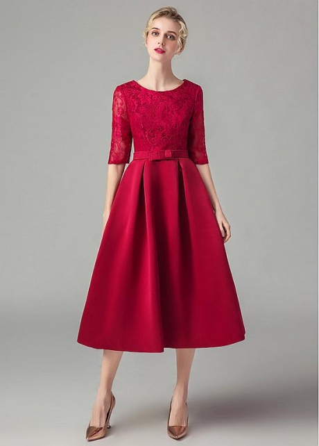 Brilliant Lace & Satin A-line Tea Length Homecoming / Bridesmaid Dresses with Sleeves