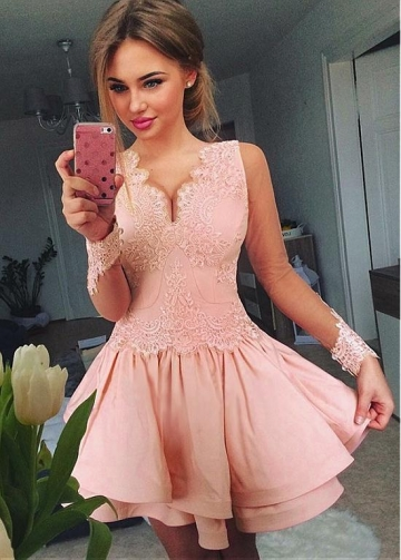 Delicate Tulle & Satin Mini-length A-line Homecoming Dresses With Lace Appliques