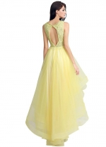 Lovely Tulle & Lace V-neck Neckline Hi-lo A-line Ruffled Homecoming / Sweet 16 Dresses