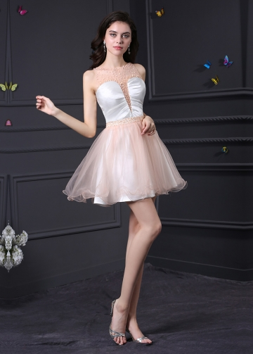Charming Tulle Illusion Neckline A-Line Homecoming / Sweet 16 Dresses