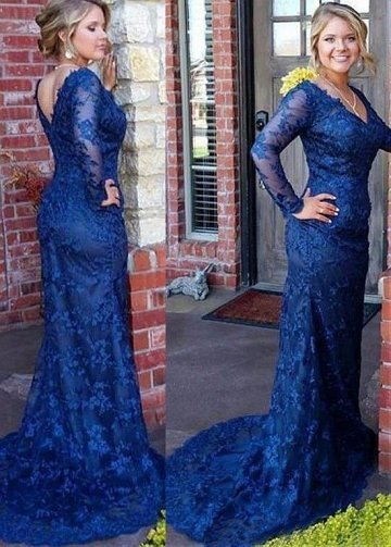 Glamorous Lace V-neck Neckline Full-length Mermaid Mother Of The Bride Dress