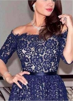 Junoesque Lace & Satin Off-the-shoulder Neckline A-line Mother Of The Bride Dress With Belt