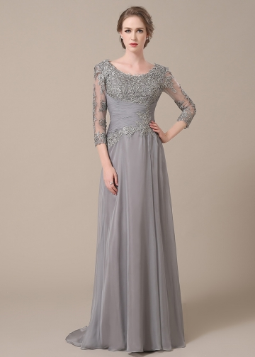 Elegant Chiffon Scoop Neckline Sheath Mother of The Bride Dresses