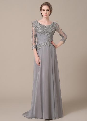 Elegant Chiffon Scoop Neckline Sheath Mother of The Bride Dresses