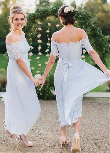 Fantastic Lace & Chiffon Off-the-shoulder Neckline A-line Bridesmaid Dress With Belt