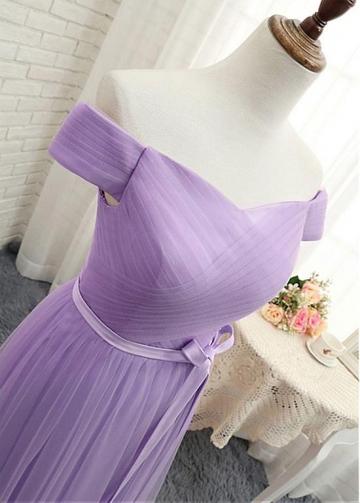 Elegant Tulle Off-the-shoulder Neckline Natural Waistline A-line Bridesmaid Dress With Belt
