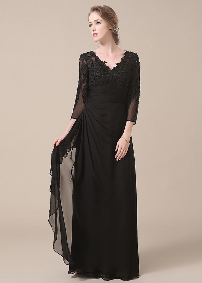 Glamorous Chiffon V-neck Neckline Sheath Mother of The Bride Dresses