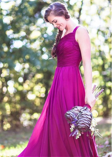 Wonderful Chiffon One Shoulder Neckline A-line Bridesmaid Dress With Belt