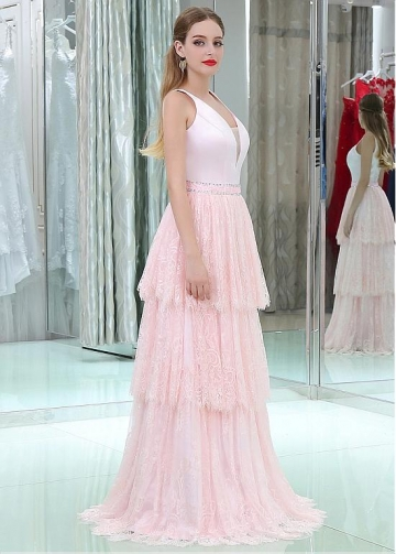 Satin & Lace V-neck Neckline Floor-length A-line Prom Dresses With Beadings