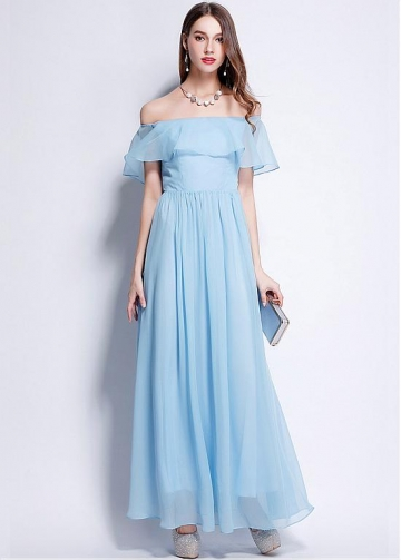 Eye-catching Chiffon Off-the-shoulder Neckline Floor-length A-line Prom / Bridesmaid Dress
