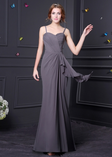 Elegant Chiffon Spaghetti Straps Neckline Mermaid Bridesmaid Dress