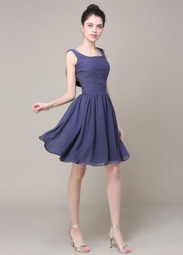 Fabulous Chiffon Scoop Neckline Short A-line Bridesmaid Dress