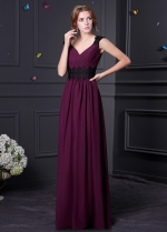 Elegant Chiffon V-neck Neckline Sheath Bridesmaid Dress With Lace Appliques
