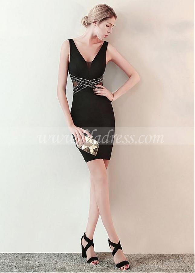 Eye-catching Black V-neck Neckline Short Sheath/Column Cocktail Dress