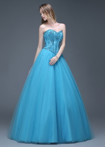 Gorgeous Tulle Sweetheart Neckline Full-length A-line Prom Dresses