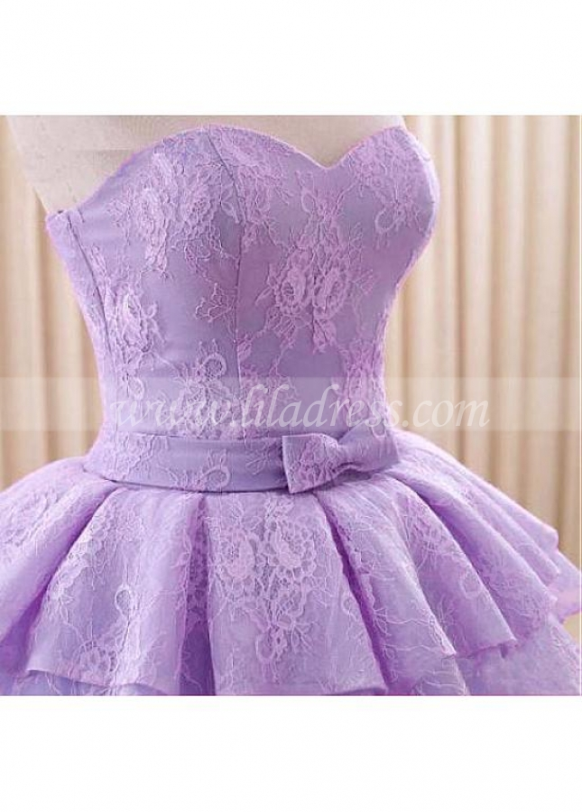 Junoesque Lace & Tulle Sweetheart Neckline Floor-length Ball Gown Quinceanera Dresses With Lace Appliques & Bowknot