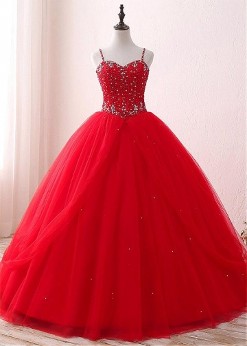 Alluring Tulle & Satin Spaghetti Straps Neckline Floor-length Ball Gown Quinceanera Dresses With Beadings