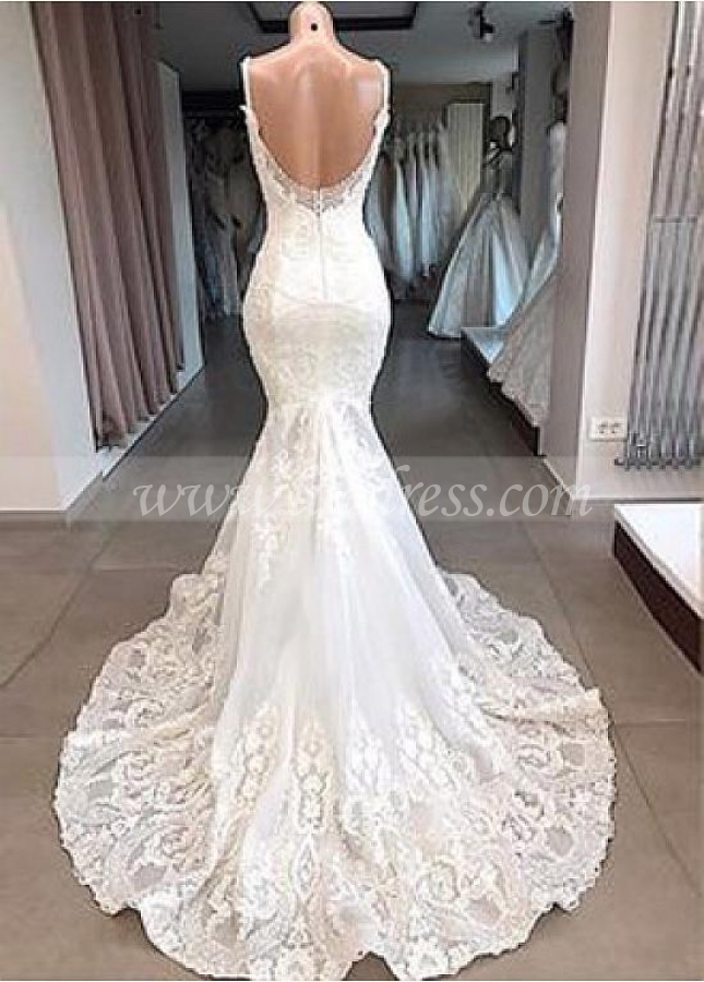 Elegant Tulle Spaghetti Straps Neckline Mermaid Wedding Dresses With Beaded Lace Appliques