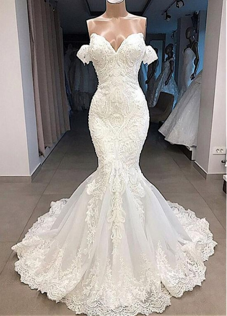 Gorgeous Tulle Off-the-shoulder Neckline Mermaid Wedding Dresses With Beaded Lace Appliques