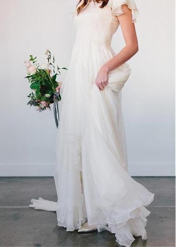 Delicate Chiffon Asymmetrical Neckline A-line Wedding Dresses With Beadings