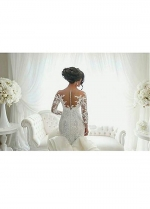 Stunning Tulle & Satin Bateau Neckline Mermaid Wedding Dresses With Lace Appliques
