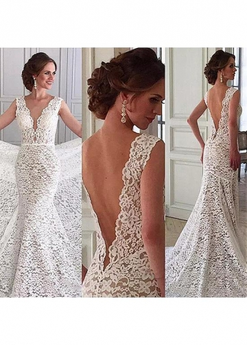 Charming Tulle & Lace V-neck Neckline Mermaid Wedding Dresses